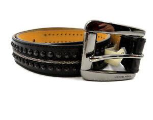 MICHAEL KORS Size M Black Studded Leather Silver Tone Buckle Waist Belt