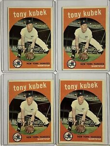 LOT- (4) 1959 Topps Tony Kubek #505-Yankees-Excellent Condition!