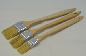 3 Piece Assorted Wooden Radiator Paint Brush Set. Extra Long with Angled Heads.