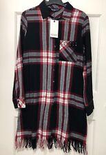 Zara Multicoloured Check Print Long Sleeves Shirt Dress With Frayed Hem XS
