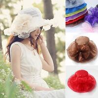 Women's Large Floppy Folding Wide Brim Cap Summer Wedding Sun Lace Beach Hat