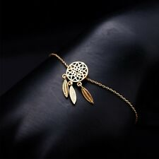 BOHO GOLD PLATED FEATHER DREAM CATCHER  BRACELET CHAIN LADIES GIFT GB1