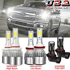 For 2015-2020 Ford F-150 LED Front Headlight High Low Beam+Fog Light Bulbs Combo