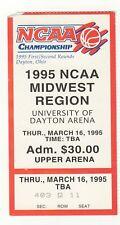 1995 NCAA 1st Round Ticket Stub Miami OH Arizona Virginia Nicholls Basketball