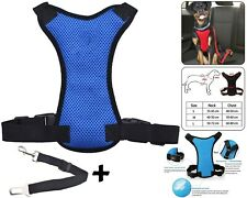 Pet Dog Car Seat Belt Safety Chiot Breathable Air Double Mesh Lead - Bleu Grand