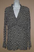 Womens Size Large Long Sleeve Black Chain Pattern Crimped Fall Blouse Top Shirt