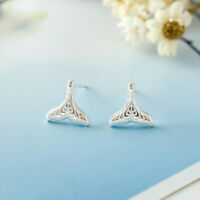 New Genuine 925 Sterling Silver Solid Whale Mermaid Tail Cute Stud Earrings Gift