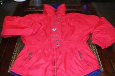 Obermeyer Winter Ski Coat Jacket Red Embroidered Flower Thermolite Womens Size 8
