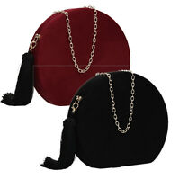 Women Suede Tassel Round Box Party Prom Clutch Gold Metal Finish Bag