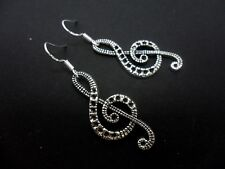 A PAIR TIBETAN SILVER MUSICAL NOTE EARRINGS WITH 925 SOLID SILVER HOOKS. NEW..