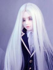 "7-8"" 1/4 BJD Pure White Long Wig LUTS Doll SD DZ DOD MSD Fairyland Dollfie Hair"