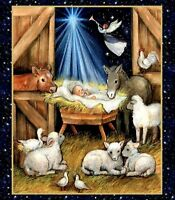 Christmas Nativity Barn Baby Jesus Angels Susan Winget Quilting Fabric Panel