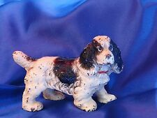 HUBLEY Iron Cocker Spaniel dog BIG paperweight  with red collar..Sporting Fine!!