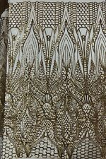 SEQUINED FABRIC by the YARD! NUDE STRETCH MESH with GOLD SEQUINS