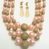 Vintage 3 Strand Pink Glass Pearl & Bead Necklaces & Pink Pierced Earrings