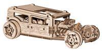 WOODEN CITY®: HOT ROD 3D Gummimotor! 3D Holzpuzzle Holzmodellbau Modellbausatz