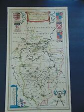 C.1662 ANTIQUE HAND COLORED MAP OF BEDFORDSHIRE by BLEAU