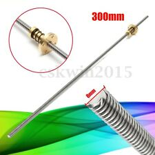 T8 8mm Lead Screw CNC Trapezoidal Acme Threaded Rod 300mm With Anti-Backlash Nut