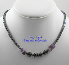 HEMATITE & AMETHYST CHIPS Beaded Necklace Crystal Healing Gemstones Beads E18