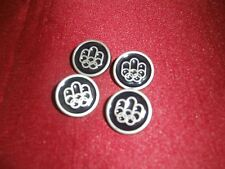 Vtg Four Pewter & Enamel Montreal 76 Olympic Hostess Uniform Buttons