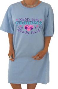 Ladies Night Gown Sleep Shirt Dress Tee Worlds Best Grandma Nana Gifts