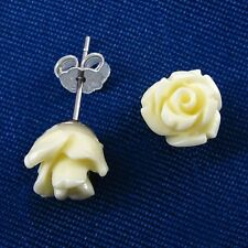 8mm PEARL WHITE Rose Post Earrings in SOLID 925 Sterling Silver - USA Seller!