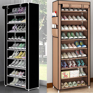 DUSTPROOF 10 TIER 27 PAIR SHOES CABINET STORAGE ORGANISER RACK STAND HOLD CANVAS