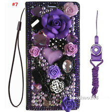 Luxury PU Leather Flip Bling Diamond Wallet Case Girls' Phone Cover & strap #T2