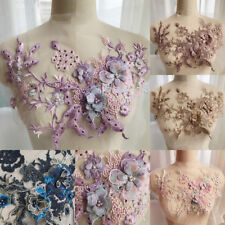 3D Embroidery Flower Lace Bridal Applique Pearl Beaded Tulle Wedding Dress DIY