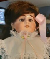 "Antique 22-Inch Unmarked Simon & Halbig Doll ""9""  With Earrings In Pretty Dress"