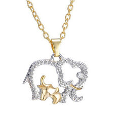 Womens gift Fashion gold filled Elephant Lucky CZ Pendant Necklace jewelry