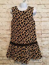 Bonnie Jean sz 5, 100 % Cotton Cheetah Print corduroy jumper Dress Velvet Trim