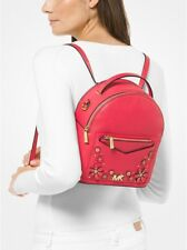 424816d90a15 Michael Kors Jessa Small Floral Embellished Pebbled Leather Convertible  Backpack
