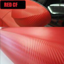 3D RED Carbon Fibre Fiber Vinyl Car Wrap NO CREASE 30cm x 1.27M Fiber