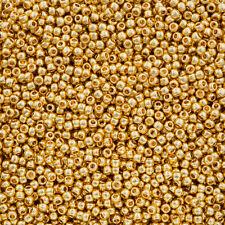 Toho Round Size 11/0 Seed Beads Metallic 24K Gold Plated 8.2g (Q92/1)