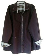 James Tattersall London Sz Large 3XL Brown Button Front LS Shirt with plaid trim