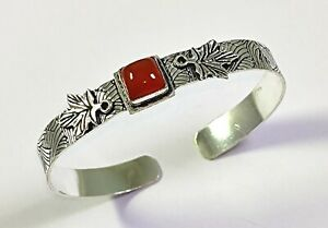 Orange Carnelian Gemstone Handmade Fashion Jewelry Silver Cuff Bracelet C-82