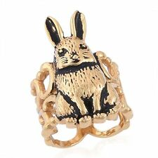 RABBIT BUNNY ALICE IN WONDERLAND GOLD ION STAINLESS STEEL RING SIZE 7 GOOD LUCK