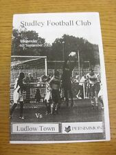 04/09/2002 Studley v Ludlow Town  (writing on back). Any faults with this item h