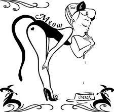 PINUP GIRL KITTY TRIBAL DESIGN 14 X 14 VINYL DECAL GRAPHIC CAR TRUCK