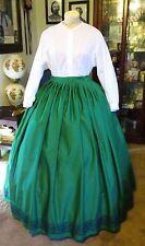 Civil War Dress~Victorian Style Elegant Cotton Emerald Green Skirt~Custom Waist