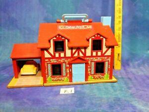 Vintage Fisher Price FP Tudor 1960s Litho Dollhouse w Furn Acc K1