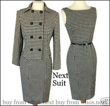 b6 Next 10 40s 50s vintage black dogtooth wool dress jacket suit houndstooth