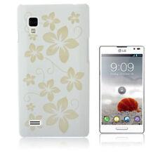Hardcase grabado Style para LG p760 Optimus l9 flores en blanco Funda protectora, funda