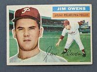 1956 Topps #114 Jim Owens Philadelphia Phillies EX