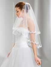 "New 2T White / Ivory Wedding Prom Bridal Elbow Veil With Comb 30""- Lace Edge"