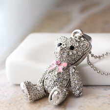 Teddy Bear Pendant Necklace Silver Color Kids Chilren Gift Idea Free Gift Box