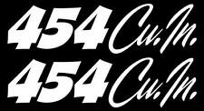 "x2 ""454 Cu. In."" Set of VINTAGE BIG BLOCK Hand Lettered look decals.RAT MOTOR."