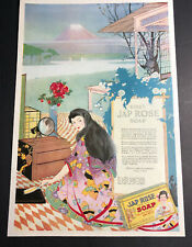 Jap Rose Soap Kirk Co 1918 Ad Oriental Pretty Lady Girl Mt Fuji Rare Ad