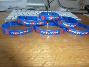 6 x  Royal British Legion POPPY  Silicone Wristband  Adult Size in Blue